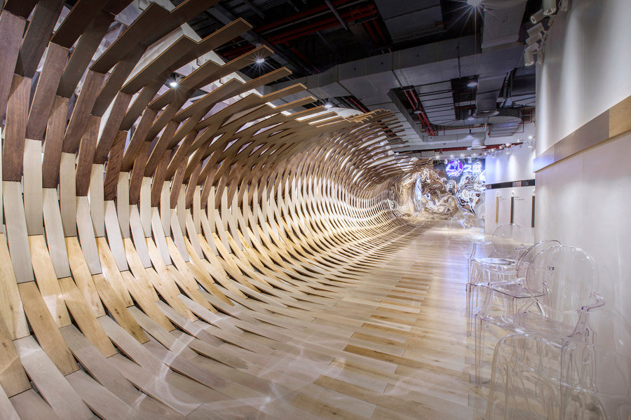 Wood floors whip up a surge, creating spectacular sensory illusions by TOWOdesign | Temporary structures