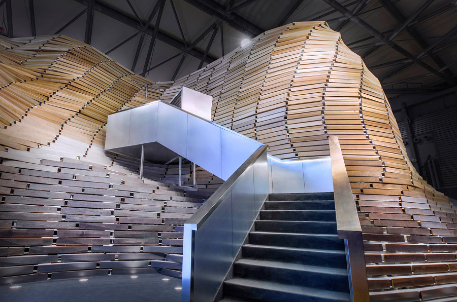 Wood floors depict a picture of mountain and water, offering a visual feast with static and dynamic balance by TOWOdesign | Temporary structures