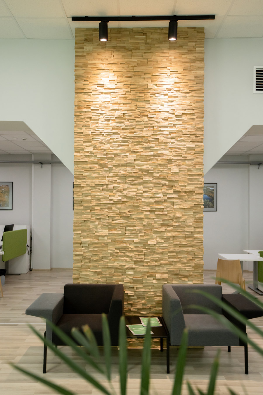 Bank interior with Deja vu panels by Wooden Wall Design | Manufacturer references