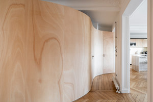 Wood ribbon in Paris apartment | Living space | Toledano +Architects