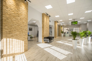 Bank interior with Deja vu panels | Manufacturer references | Wooden Wall Design