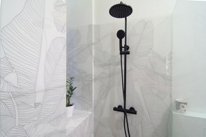 Shower with printed glass walls | Manufacturer references | Glastrix