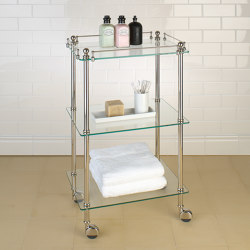 Tavolino with clear glass shelves | Bath shelving | Aquadomo