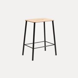 Adam stool H50 Black Leather | Taburetes | Frama