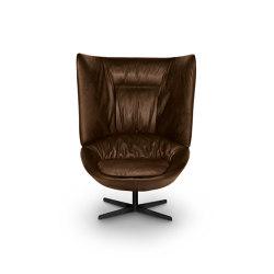 Ladle Armchair - High Backrest/Swivel Spoke Base Leather Version | Armchairs | ARFLEX