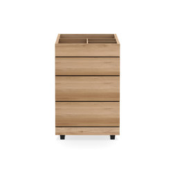 Qualitime   Oak dressing unit on wheels - 3 drawers - varnished   Portable storage units   Ethnicraft
