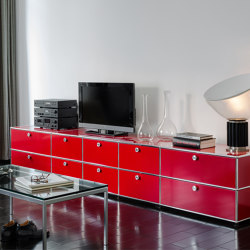 USM Haller Media | USM Ruby Red | Multimedia sideboards | USM