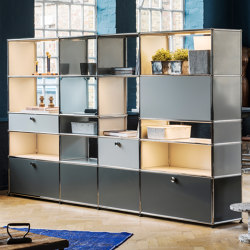 USM Haller Shelving | Light Gray, USM Matte Silver, Mid-gray | Cabinets | USM