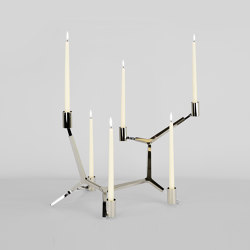 Agnes Candelabra Table - 6 Candles (Polished nickel) | Candlesticks / Candleholder | Roll & Hill