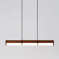 Woody Endless Straight - 3 Units (Black/Stained Oak) | Suspended lights | Roll & Hill