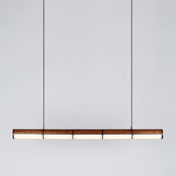 Woody Endless Straight - 5 Units (Black/Stained Oak) | Suspended lights | Roll & Hill