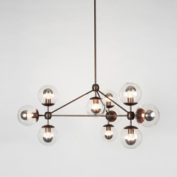 Modo Chandelier - 3 Sided, 10 Globes (Bronze/Clear) | Lampade sospensione | Roll & Hill