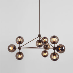 Modo Chandelier - 3 Sided, 10 Globes (Bronze/Smoke) | Suspensions | Roll & Hill