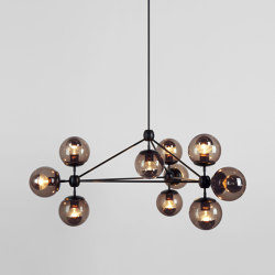 Modo Chandelier - 3 Sided, 10 Globes (Black/Smoke) | Suspended lights | Roll & Hill