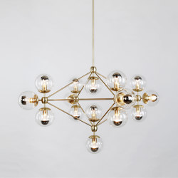 Modo Chandelier - 4 Sided, 15 Globes (Brass/Clear) | Suspended lights | Roll & Hill