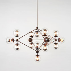 Modo Chandelier - 4 Sided, 15 Globes (Bronze/Clear) | Suspended lights | Roll & Hill