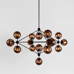 Modo Chandelier - 4 Sided, 15 Globes (Black/Smoke) | Suspended lights | Roll & Hill