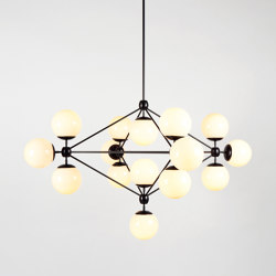 Modo Chandelier - 4 Sided, 15 Globes (Black/Cream) | Suspended lights | Roll & Hill