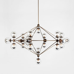 Modo Chandelier - 6 Sided, 21 Globes (Bronze/Clear) | Lámparas de suspensión | Roll & Hill