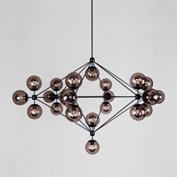 Modo Chandelier - 6 Sided, 21 Globes (Black/Smoke) | Suspensions | Roll & Hill