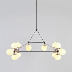 Modo Chandelier - Rectangle, 14 Globes (Polished nickel/Cream) | Pendelleuchten | Roll & Hill