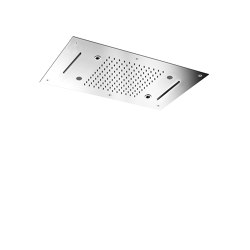 Harmonia F2904 | Ceiling mounted stainless steel showerhead with rain flow, 2 cascade, cromotherapy and audio | Shower controls | Fima Carlo Frattini