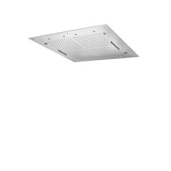 Harmonia F2900 | Ceiling mounted stainless steel showerhead with rain flow, 2 cascade, 8 mist sprays, cromotherapy and audio | Shower controls | Fima Carlo Frattini