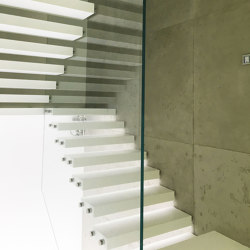 Floating stairs in Corian |  | Siller Treppen