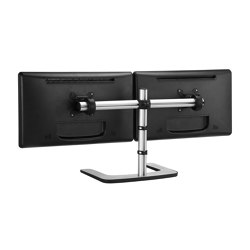 Set & Forget | Dual Display Side-by-Side Mount with a Freestanding Base VFS-DH | Table equipment | Atdec