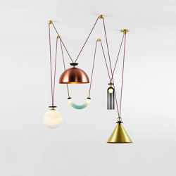 Shape Up 5-Piece Chandelier (Brushed brass cone/Brushed copper hemisphere) | Lámparas de suspensión | Roll & Hill