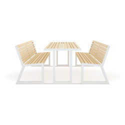 VENTIQUATTRORE.H24 TABLE+ INTEGRATED BENCHES | Benches | Diemmebi