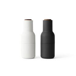 Bottle Grinder | Ash/Carbon  2-pack w. Walnut Lid | Salz & Pfeffer | MENU
