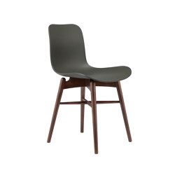 Langue Original Dining Chair, Dark Stained / Army Green | Sillas | NORR11