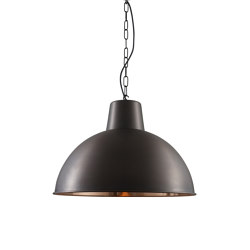 7163 Spun Reflector, Large, Weathered/Polished Copper Interior | Suspended lights | Original BTC