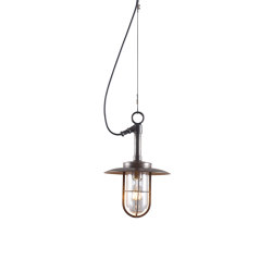 7523 Ship's Well Glass Pendant With Visor, Clear Glass, Weathered Brass | Suspended lights | Original BTC