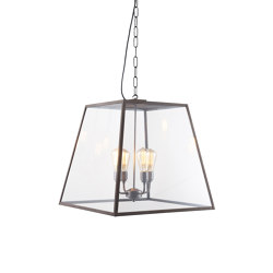 7635 Quad Pendant, XL and 4 L/holders, Weathered Brass, Closed Top | Suspended lights | Original BTC