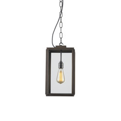 7638 Small Square Pendant, Closed Top, Weathered Brass, Clear | Suspended lights | Original BTC