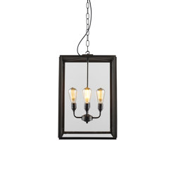 7638 Square Pendant, XL & 4 L/H, Closed Top, Weather Brass, Clear | Suspended lights | Original BTC