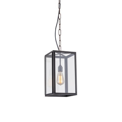 7639 Small Square Pendant, External Glass, Weathered Brass, Clear | Suspended lights | Original BTC
