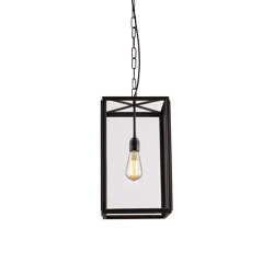 7639 Square Pendant, Externally Glazed, Weathered Brass, Clear Glass | Suspended lights | Original BTC