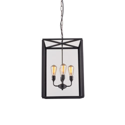 7639 Square Pendant, Externally Glazed, XL & 4 L/holders, Weathered Brass, Clear | Suspended lights | Original BTC