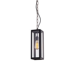 7649 Narrow Box Pendant, External Glass, Weathered Brass, Clear | Suspended lights | Original BTC