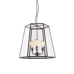 7651 Hex Pendant, Extra Large, Weathered Brass, Clear Glass | Suspended lights | Original BTC