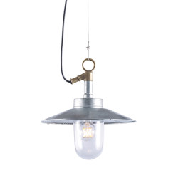 7680 Well Glass Pendant With Visor, Galvanised, Clear Glass | Suspended lights | Original BTC
