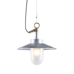 7680 Well Glass Pendant With Visor, Galvanised, Frosted Glass | Suspended lights | Original BTC