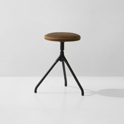 Akron Low Stool With Leather Seat | Stools | District Eight