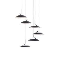 Royyo Pendant (Circular with 6 pendants), Matte Black, Matte Black Canopy | Suspended lights | Koncept