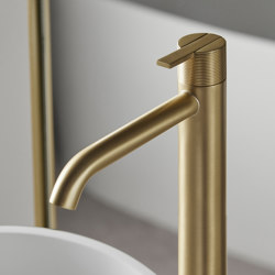 Code Brushed Gold freestanding basin mixer | Wash basin taps | Inbani