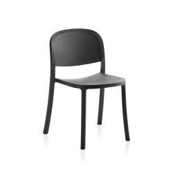 1 Inch Reclaimed Stacking Chair Dark Grey | Sillas | emeco