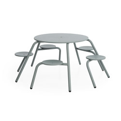 Virus 5-seater with standard tabletop (with drainage holes & parasol hole) | Table-seat combinations | extremis